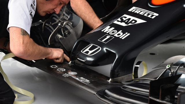 Mechanics with the McLaren MP4-30 nose and front wing at Formula One World Championship, Rd8, Austrian Grand Prix, Practice, Spielberg, Austria, Friday 19 June 2015. &copy&#x3b; Sutton Motorsport Images