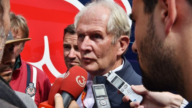 Dr Helmut Marko (AUT) Red Bull Motorsport Consultant talks with the media at Formula One World Championship, Rd8, Austrian Grand Prix, Practice, Spielberg, Austria, Friday 19 June 2015. &copy&#x3b; Sutton Motorsport Images