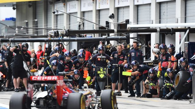 Max Verstappen (NDL) Scuderia Toro Rosso STR10 pit stop at Formula One World Championship, Rd8, Austrian Grand Prix, Practice, Spielberg, Austria, Friday 19 June 2015. &copy&#x3b; Sutton Motorsport Images