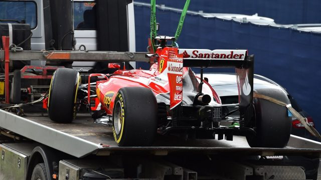 Sebastian Vettel (GER) Ferrari car is recovered after breaking down in FP1 at Formula One World Championship, Rd8, Austrian Grand Prix, Practice, Spielberg, Austria, Friday 19 June 2015. &copy&#x3b; Sutton Motorsport Images