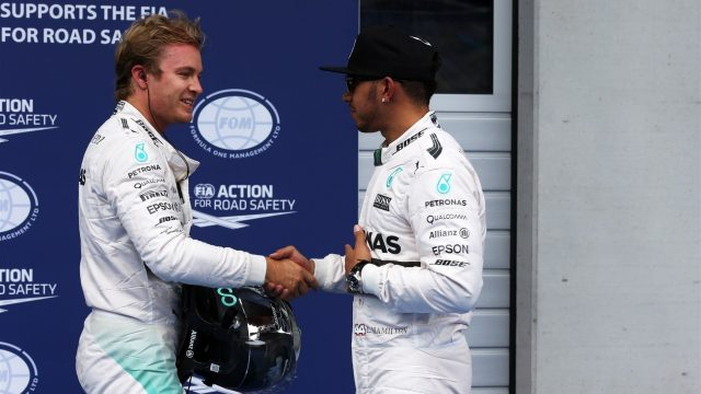 Nico Rosberg (GER) Mercedes AMG F1 and pole sitter Lewis Hamilton (GBR) Mercedes AMG F1 in parc ferme at Formula One World Championship, Rd8, Austrian Grand Prix, Qualifying, Spielberg, Austria, Saturday 20 June 2015. &copy&#x3b; Sutton Motorsport Images