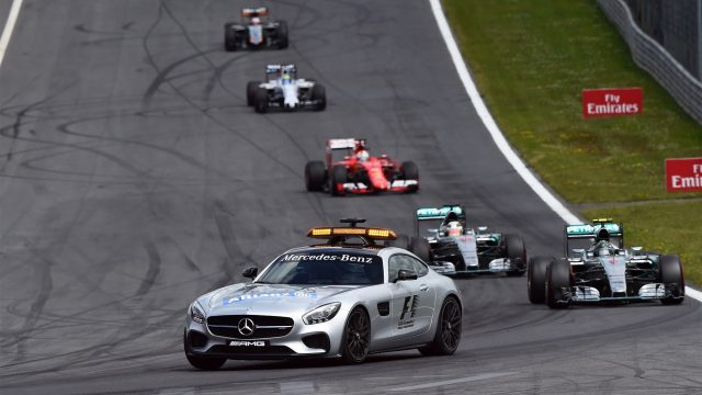 Safety Car leads the field at Formula One World Championship, Rd8, Austrian Grand Prix, Race, Spielberg, Austria, Sunday 21 June 2015. &copy&#x3b; Sutton Motorsport Images