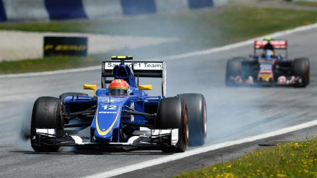 Felipe Nasr (BRA) Sauber C34 with brake dust from front wheels at Formula One World Championship, Rd8, Austrian Grand Prix, Race, Spielberg, Austria, Sunday 21 June 2015. &copy&#x3b; Sutton Motorsport Images
