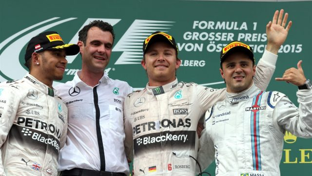 (L to R): Lewis Hamilton (GBR) Mercedes AMG F1, race winner Nico Rosberg (GER) Mercedes AMG F1 and Felipe Massa (BRA) Williams celebrate on the podium at Formula One World Championship, Rd8, Austrian Grand Prix, Race, Spielberg, Austria, Sunday 21 June 2015. &copy&#x3b; Sutton Motorsport Images