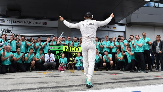 Race winner Nico Rosberg (GER) Mercedes AMG celebrates with the team at Formula One World Championship, Rd8, Austrian Grand Prix, Race, Spielberg, Austria, Sunday 21 June 2015. &copy&#x3b; Sutton Motorsport Images