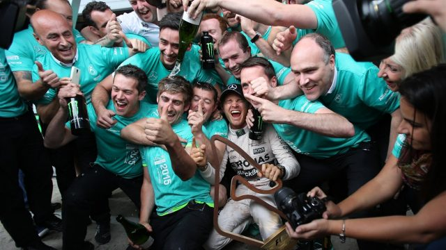 Race winner Nico Rosberg (GER) Mercedes AMG F1 celebrates with his team at Formula One World Championship, Rd8, Austrian Grand Prix, Race, Spielberg, Austria, Sunday 21 June 2015. &copy&#x3b; Sutton Motorsport Images