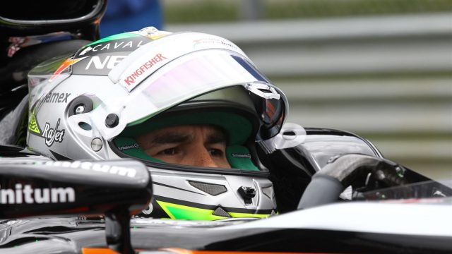 Sergio Perez (MEX) Force India VJM08 on the grid at Formula One World Championship, Rd8, Austrian Grand Prix, Race, Spielberg, Austria, Sunday 21 June 2015. &copy&#x3b; Sutton Motorsport Images