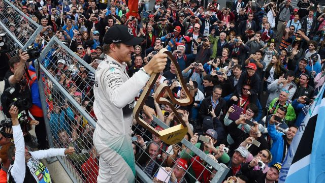 Race winner Nico Rosberg (GER) Mercedes AMG F1 celebrates with the fans at Formula One World Championship, Rd8, Austrian Grand Prix, Race, Spielberg, Austria, Sunday 21 June 2015. &copy&#x3b; Sutton Motorsport Images