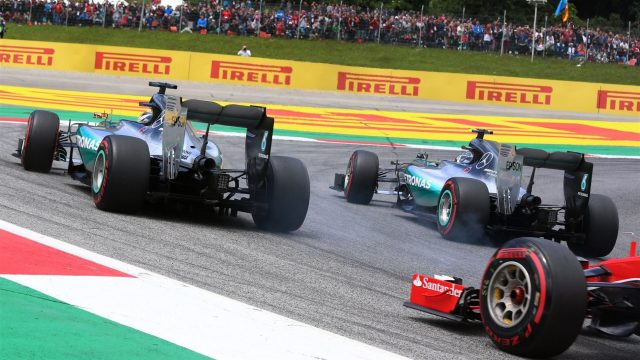 Lewis Hamilton (GBR) Mercedes AMG F1 W06 and Nico Rosberg (GER) Mercedes AMG F1 W06 at the start of the race at Formula One World Championship, Rd8, Austrian Grand Prix, Race, Spielberg, Austria, Sunday 21 June 2015. &copy&#x3b; Sutton Motorsport Images