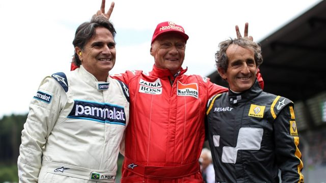 (L to R): Nelson Piquet, Niki Lauda (AUT) Mercedes AMG F1 Non-Executive Chairman and Alain Prost (FRA) at the Legends Parade at Formula One World Championship, Rd8, Austrian Grand Prix, Race, Spielberg, Austria, Sunday 21 June 2015. &copy&#x3b; Sutton Motorsport Images