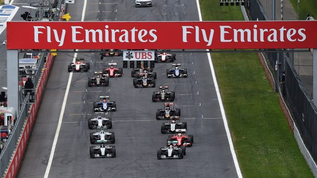 Lewis Hamilton (GBR) Mercedes AMG F1 W06 leads Nico Rosberg (GER) Mercedes AMG F1 W06 at the start fo the race at Formula One World Championship, Rd8, Austrian Grand Prix, Race, Spielberg, Austria, Sunday 21 June 2015. &copy&#x3b; Sutton Motorsport Images