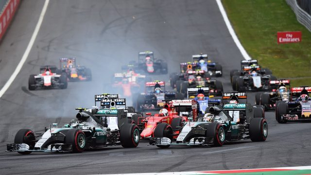 Nico Rosberg (GER) Mercedes AMG F1 W06 leads Lewis Hamilton (GBR) Mercedes AMG F1 W06 at the start of the race at Formula One World Championship, Rd8, Austrian Grand Prix, Race, Spielberg, Austria, Sunday 21 June 2015. &copy&#x3b; Sutton Motorsport Images
