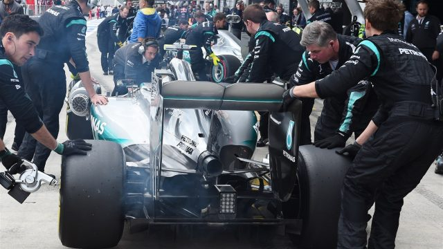 Nico Rosberg (GER) Mercedes AMG F1 W06 in the pits at Formula One World Championship, Rd8, Austrian Grand Prix, Race, Spielberg, Austria, Sunday 21 June 2015. &copy&#x3b; Sutton Motorsport Images