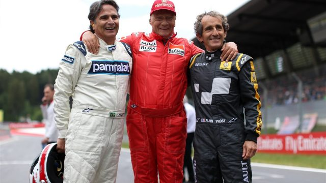 (L to R): Nelson Piquet (BRA), Niki Lauda (AUT) Mercedes AMG F1 Non-Executive Chairman and Alain Prost (FRA) at the Legends Parade at Formula One World Championship, Rd8, Austrian Grand Prix, Race, Spielberg, Austria, Sunday 21 June 2015. &copy&#x3b; Sutton Motorsport Images