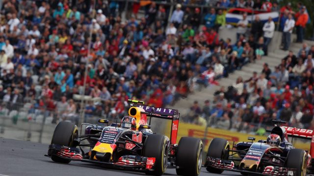 Daniil Kvyat (RUS) Red Bull Racing RB11 leads Max Verstappen (NDL) Scuderia Toro Rosso STR10 at Formula One World Championship, Rd8, Austrian Grand Prix, Race, Spielberg, Austria, Sunday 21 June 2015. &copy&#x3b; Sutton Motorsport Images