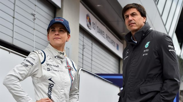 Susie Wolff (GBR) Williams Test and Development Driver and Toto Wolff (AUT) Mercedes AMG F1 Director of Motorsport at Formula One Testing, Day One, Spielberg, Austria, Tuesday 23 June 2015. &copy&#x3b; Sutton Motorsport Images