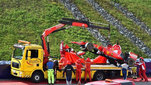 The crashed car of Antonio Fuoco (ITA) Ferrari SF15-T is recovered at Formula One Testing, Day One, Spielberg, Austria, Tuesday 23 June 2015. &copy&#x3b; Sutton Motorsport Images