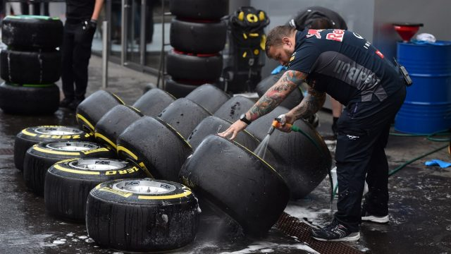Red Bull Racing mechanic washes Pirelli tyres and wheels at Formula One Testing, Day One, Spielberg, Austria, Tuesday 23 June 2015. &copy&#x3b; Sutton Motorsport Images