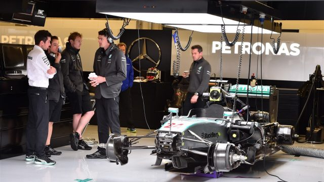 Mercedes AMG F1 W06 in the garage at Formula One Testing, Day One, Spielberg, Austria, Tuesday 23 June 2015. &copy&#x3b; Sutton Motorsport Images