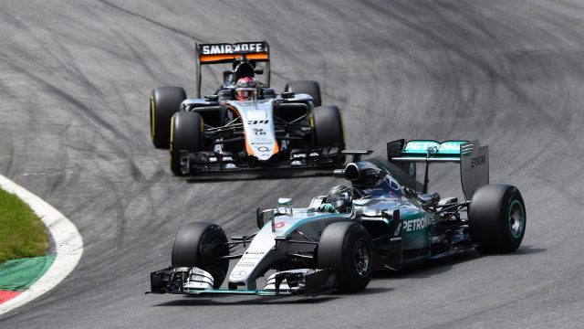 Nico Rosberg (GER) Mercedes AMG F1 W06 and Pascal Wehrlein (GER) Force India VJM08 at Formula One Testing, Day Two, Spielberg, Austria, Wednesday 24 June 2015. &copy&#x3b; Sutton Motorsport Images