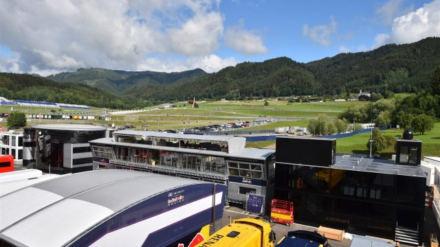 Team motorhomes in the paddock at Formula One Testing, Day Two, Spielberg, Austria, Wednesday 24 June 2015. &copy&#x3b; Sutton Motorsport Images