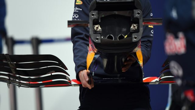 Mechanic carrying the nose and front wing of a Red Bull Racing RB11 at Formula One Testing, Day Two, Spielberg, Austria, Wednesday 24 June 2015. &copy&#x3b; Sutton Motorsport Images