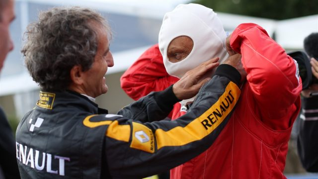 Alain Prost (FRA) and Niki Lauda (AUT) at the Legends Parade at Formula One World Championship, Rd8, Austrian Grand Prix, Qualifying, Spielberg, Austria, Saturday 20 June 2015. &copy&#x3b; Sutton Motorsport Images