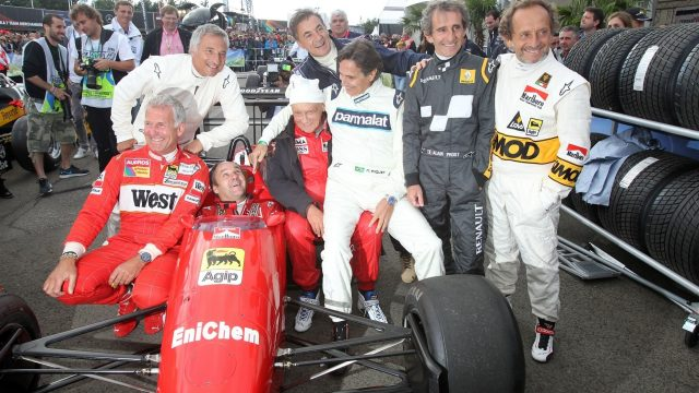 Gerhard Berger (AUT) Ferrari F1/87-88C with (L to R): Christian Danner (GER), Riccardo Patrese (ITA), Niki Lauda (AUT), Jean Alesi (FRA), Nelson PIquet (BRA), Alain Prost (FRA) and Pierluigi Martini (ITA) at the Legends Parade at Formula One World Championship, Rd8, Austrian Grand Prix, Qualifying, Spielberg, Austria, Saturday 20 June 2015. &copy&#x3b; Sutton Motorsport Images