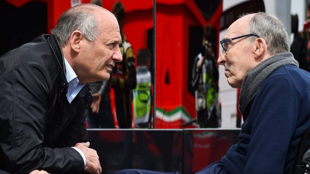 Ron Dennis (GBR) McLaren Executive Chairman talks with Sir Frank Williams (GBR) Team Owner Williams F1 Team at Formula One World Championship, Rd8, Austrian Grand Prix, Qualifying, Spielberg, Austria, Saturday 20 June 2015. &copy&#x3b; Sutton Motorsport Images