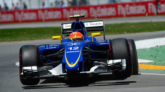 Felipe Nasr (BRA) Sauber C34 jumps across the kerb at Formula One World Championship, Rd7, Canadian Grand Prix, Qualifying, Montreal, Canada, Saturday 6 June 2015. &copy&#x3b; Sutton Motorsport Images