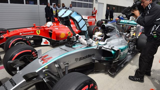 Pole sitter Lewis Hamilton (GBR) Mercedes AMG F1 W06 in parc ferme at Formula One World Championship, Rd8, Austrian Grand Prix, Qualifying, Spielberg, Austria, Saturday 20 June 2015. &copy&#x3b; Sutton Motorsport Images
