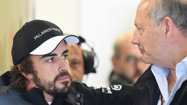 Fernando Alonso (ESP) McLaren and Ron Dennis (GBR) McLaren Executive Chairman at Formula One World Championship, Rd8, Austrian Grand Prix, Qualifying, Spielberg, Austria, Saturday 20 June 2015. &copy&#x3b; Sutton Motorsport Images
