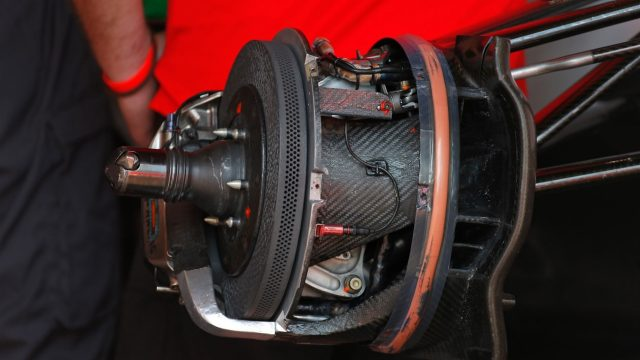 Force India VJM08 front brake and wheel hub at Formula One World Championship, Rd6, Monaco Grand Prix Preparations, Monte-Carlo, Monaco, Wednesday 20 May 2015. &copy&#x3b; Sutton Motorsport Images