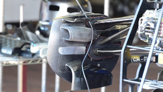 Sauber C34 front brake duct detail at Formula One World Championship, Rd6, Monaco Grand Prix Preparations, Monte-Carlo, Monaco, Wednesday 20 May 2015. &copy&#x3b; Sutton Motorsport Images