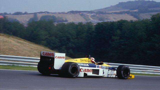 Nelson Piquet (Williams FW11 Honda) 1st position. 1986 Hungarian Grand Prix.