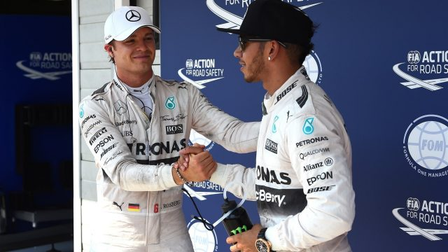 Nico Rosberg (GER) Mercedes AMG F1 congratulates pole sitter Lewis Hamilton (GBR) Mercedes AMG F1 in parc ferme at Formula One World Championship, Rd10, Hungarian Grand Prix, Qualifying, Hungaroring, Hungary, Saturday 25 July 2015. &copy&#x3b; Sutton Motorsport Images