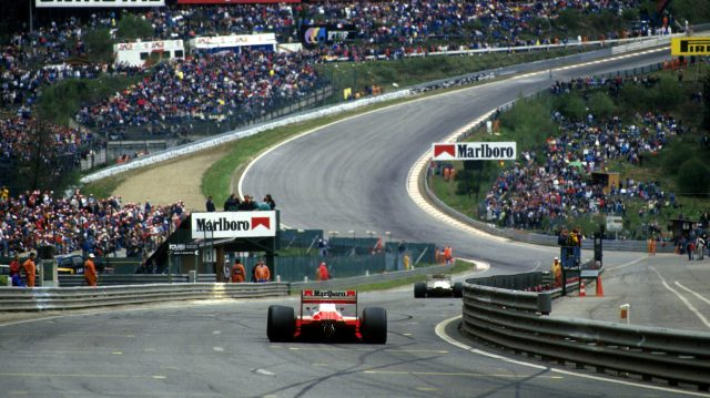 Alain Prost approaches Eau Rouge during the 1987 Belgian Grand Prix. &copy&#x3b; Sutton Motorsport Images