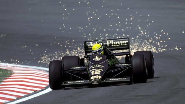 Ayrton Senna (BRA) Lotus 98T, who finished the race in second position, sends the sparks flying as he climbs Eau Rouge. 1986 Belgian Grand Prix. &copy&#x3b; Sutton Motorsport Images