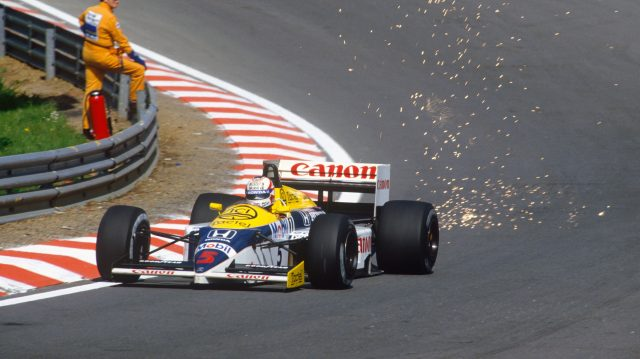 Nigel Mansell (Williams FW11 Honda) 1st position at Eau Rouge. 1986 Belgian Grand Prix. &copy&#x3b; LAT Photographic