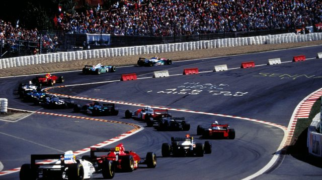 Rubens Barrichello leads the field through the infamous Eau Rouge chicane at the start of the 1994 Belgian Grand Prix. ©Sutton Motorsport Images
