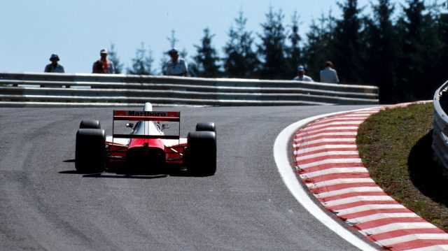Gerhard Berger tackles Eau Rouge in 1990. Note the steepness of the hill. ©Sutton Motorsport Images
