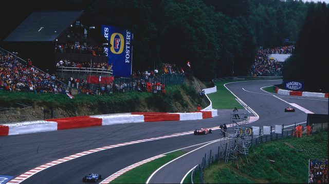 The drivers tackle the revised Eau Rouge in 2002. Note the extensive tarmac run-off. &copy&#x3b; LAT Photographic