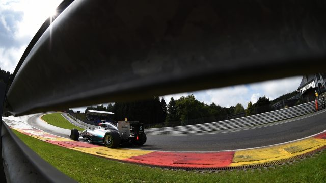 Nico Rosberg (Mercedes AMG F1 W05) as seen through the Eau Rouge Armco. 2014 Belgian Grand Prix. &copy&#x3b; Sutton Motorsport Images