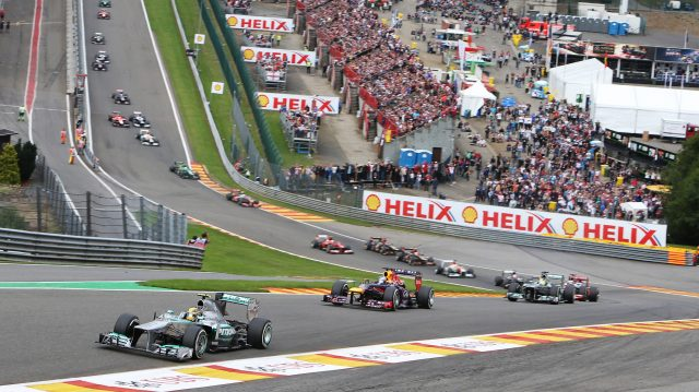 Lewis Hamilton (GBR) Mercedes AMG F1 W04 leads at the start of the race.