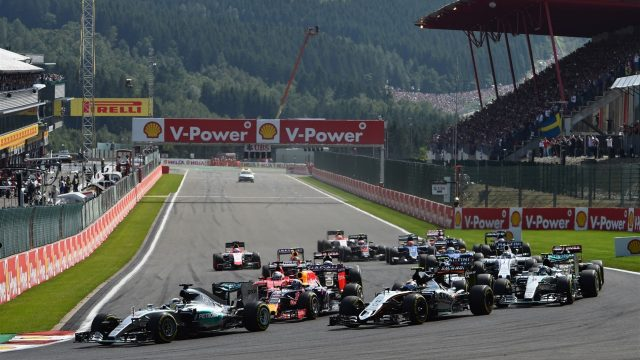 Lewis Hamilton (GBR) Mercedes AMG F1 W06 leads at the start of the race at Formula One World Championship, Rd11, Belgian Grand Prix, Race, Spa Francorchamps, Belgium, Sunday 23 August 2015. &copy&#x3b; Sutton Motorsport Images