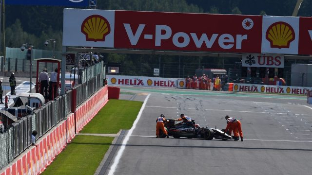 Nico Hulkenberg (GER) Force India VJM08 is pushed off the grid at Formula One World Championship, Rd11, Belgian Grand Prix, Race, Spa Francorchamps, Belgium, Sunday 23 August 2015. &copy&#x3b; Sutton Motorsport Images