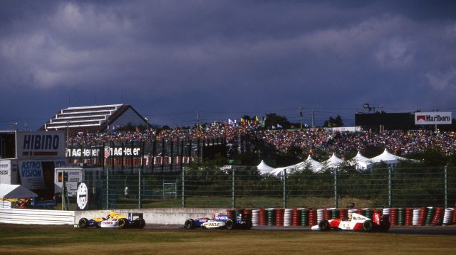 Senna follows the ongoing battle between Damon Hill and Eddie Irvine. &copy&#x3b; Sutton Motorsport Images