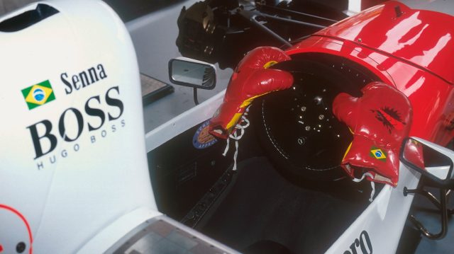 The McLaren team made an amusing modification to Senna's car at the 1993 Australian Grand Prix following his fracas with Irvine in Japan. &copy&#x3b; LAT Photographic