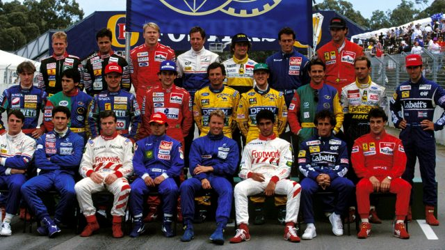 Senna (second row, fourth from left) and Irvine (second row, far left) were rightly kept apart from each other during the traditional end of season photograph in Australia following their bust-up in Japan. &copy&#x3b; Sutton Motorsport Images