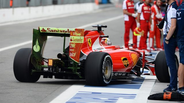 Sebastian Vettel (GER) Ferrari SF15-T with aero pait on rear wing at Formula One World Championship, Rd12, Italian Grand Prix, Practice, Monza, Italy, Friday 4  September 2015. &copy&#x3b; Sutton Motorsport Images